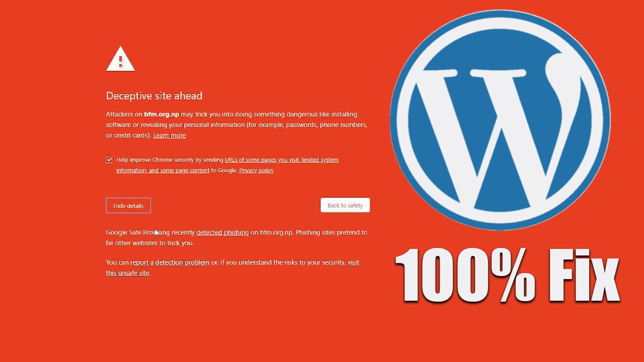Deceptive site ahead fix Wordpress website